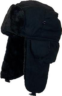33a6dedfe2111 Best Winter Hats Adult Russian Aviator Faux Suede Leather w Faux Fur(One