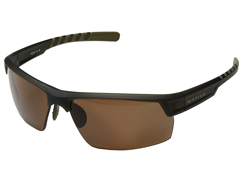 Native Eyewear Catamount (Matte Moss/Brown Polarized Lens) Athletic Performance Sport Sunglasses