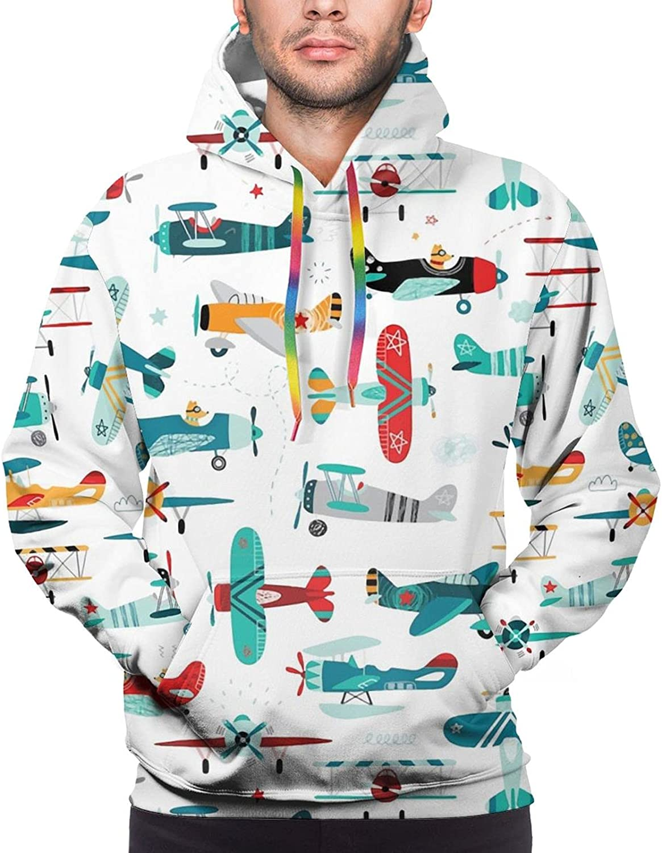 Hoodie For Mens Womens Teens Cartoon Airplane Helicopter Hoodies Fashion Sweatshirt Drawstring