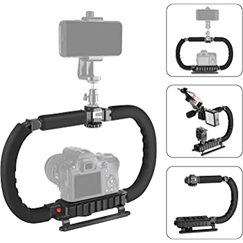 Neewer DSLR/Mirrorless/Action Camera Camcorder Phone Stabilizer 2-Handed Vlog Video Holder Rig Low Position Shooting Steadycam Mount Detachable Grip Compatible with GoPro Canon Nikon iPhone Samsung