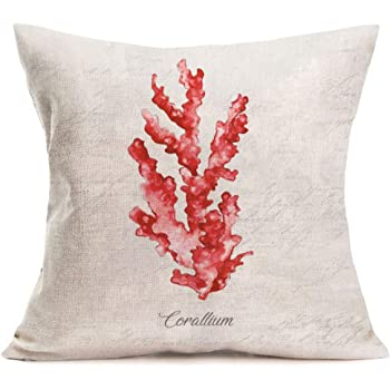 oFloral Anchor Throw Pillow Cover Tropical Corals Pillow Case Square Cushion Cover for Sofa Couch Home Car Bedroom Living Room Decor 18 x 18 Blue Red