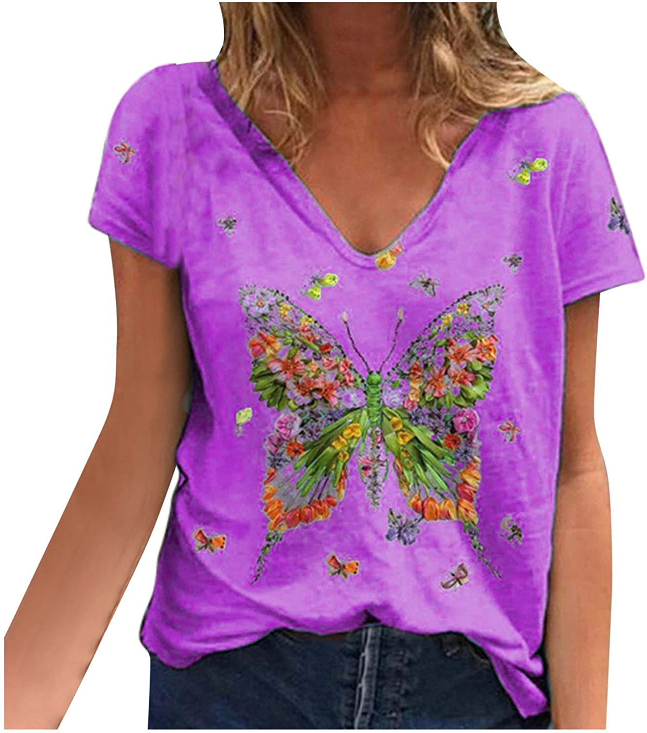 Womens T Shirts Butterfly Prints Short Sleeve Comfy Loose Blouses V-Neck Fashion Casual Tee Tops
