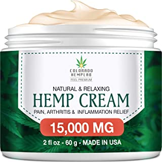 Premium Hemp Cream for Pain Relief - Maximum Strength, 15,000 MG - Fast Relief from Pain, Ache, Arthritis & Inflammation