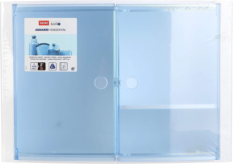 blau durchscheinend Tatay 4480200/Schrank horizontale mit 2/T/üren Kunststoff 46/x 15,5/x 32/cm 46 x 15,5 x 32 cm Kunststoff