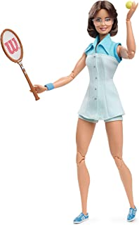 Barbie Inspiring Women Series Billie Jean King Collectible Doll, Approx. 12-in, Wearing Tennis Dress and Accessories, with Doll Stand and Certificate of Authenticity