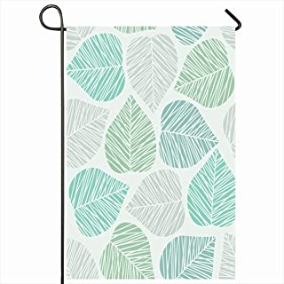 Ahawoso Outdoor Garden Flags 12x18 Inch Light Blue Line Leaf Pattern Nature Plant Abstract Simple Drawing Winter Foliage Vertical Double Sided Home Decorative House Yard Sign