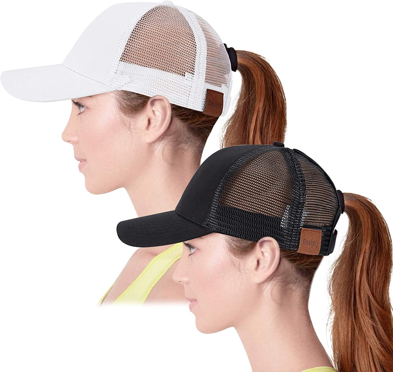High Ponytail Baseball Hats for Women,Sun Messy High Bun Hat Adjustable and Mesh Trucker Baseball Cap