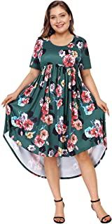 Womens Plus Size Short Sleeve Loose High Low Casual Midi Dresses with Pockets