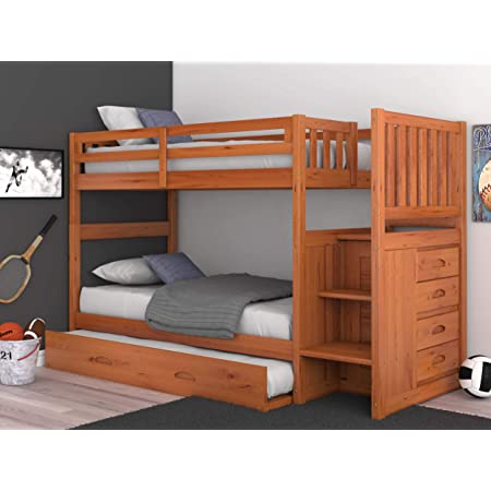 Amazon Com Mission Twin Over Twin Staircase Bunk Bed With Trundle In Honey Finish Kitchen Dining