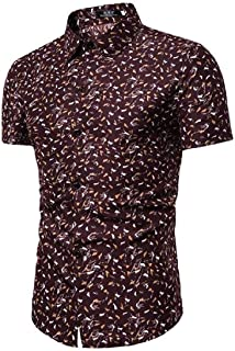 GAGA Men Summer Printed Slim Fit Short Sleeve Button Down Casual Business Dress Shirts Brown Large