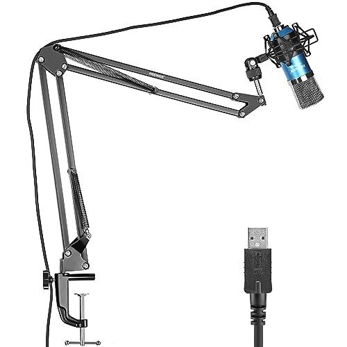 Neewer USB Microphone pour Windows et Mac avec Bras de Suspension Ciseau Support, Monture Antichoc et Kit de Fixation de Table pour la Radiodiffusion et l'Enregistrement Sonore (Bleu)