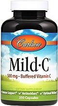 Carlson - Mild-C, 500 mg Buffered Vitamin C, Immune Support & Optimal Wellness, Antioxidant, 250 capsules