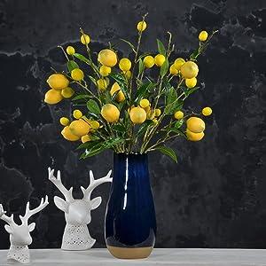 Sunm boutique 2 Pack Artificial Lemon Branch Vivid Yellow Artificial Lemon Branch Home Party Garden Decoration