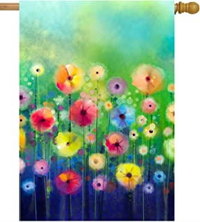 """ShineSnow Watercolor Abstract Spring Summer Seasonal Green Floral Flowers Art House Flag 28"""" x 40"""" Double Sided Polyester ..."""