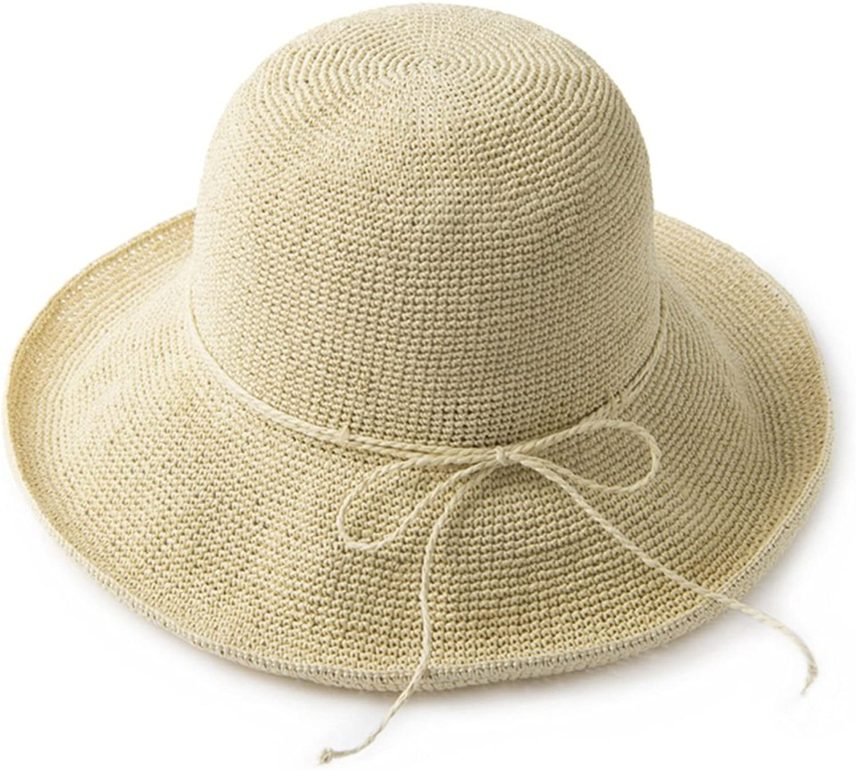 LJJL Hat Female Hand-Knit Straw Hat Summer Beach Sun Hat Fisherman Hat Foldable (color   C)