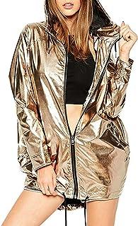Sudadera con Capucha Mujer Manga Larga Moda Color Metalizado Cremallera Casual Abrigo Outwear Jacket Parka