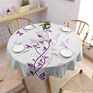 HouseLookHome Purple Mardi Gras Tablecloth Violet Tree Swirling Persian Lilac Blooms with Butterfly Ornamental Plant Graphic Tablecloth Waterproof 35 Inch Round Purple White
