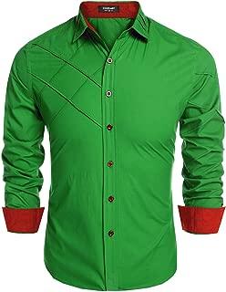 Men's Business Dress Shirt Slim Fit Long Sleeve Button Down Shirts