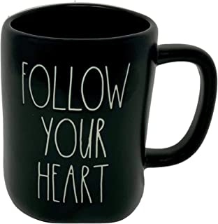 RAE DUNN BLACK COFFEE MUG – FOLLOW YOUR HEART - Artisan Collection By Magenta – Show your Heart at home, classroom, or off...