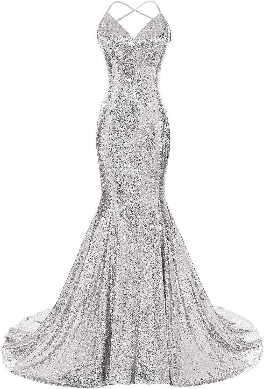 JoyVany Women Sequins Mermaid Prom Bridesmaid Dresses 2019 Formal Gowns JP0008