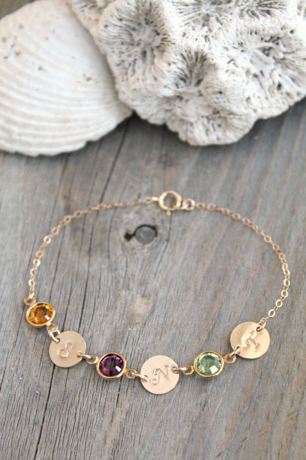 Personalized 14k gold filled Max 90% OFF initial custom Limited time cheap sale bracelet monogram