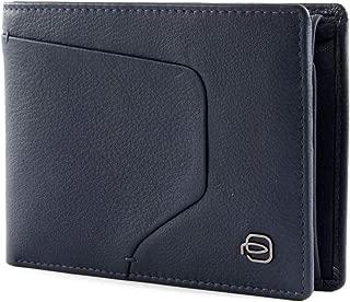 PIQUADRO Blue Square Wallet Vertical Porte-monnaie Blu Notte Bleu Nouveau