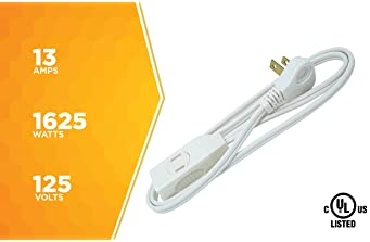 SlimLine 2235 Indoor Flat Plug Extension Cord, 3 Foot Cord, Right Angled Plug, 16 gauge, 3 Polarized Outlets, 125 Vol...