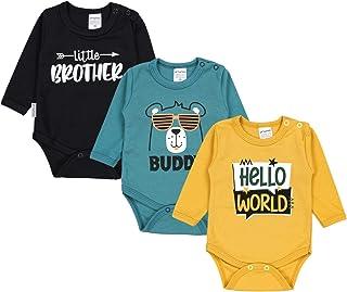 TupTam Baby Jungen Langarm Body mit Aufdruck Spruch 3er Pack