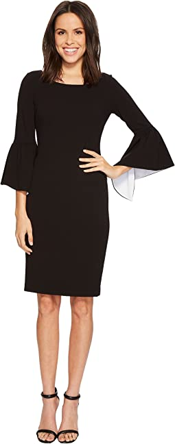 Ruffle Bell Sleeve Sheath with Contrast Lining in Sleeve CD8C14GY
