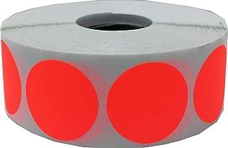 Rojas Fluorescentes Pegatinas Circulares, 25 mm 1 Pulgadas Etiquetas de Puntos 500 Paquete