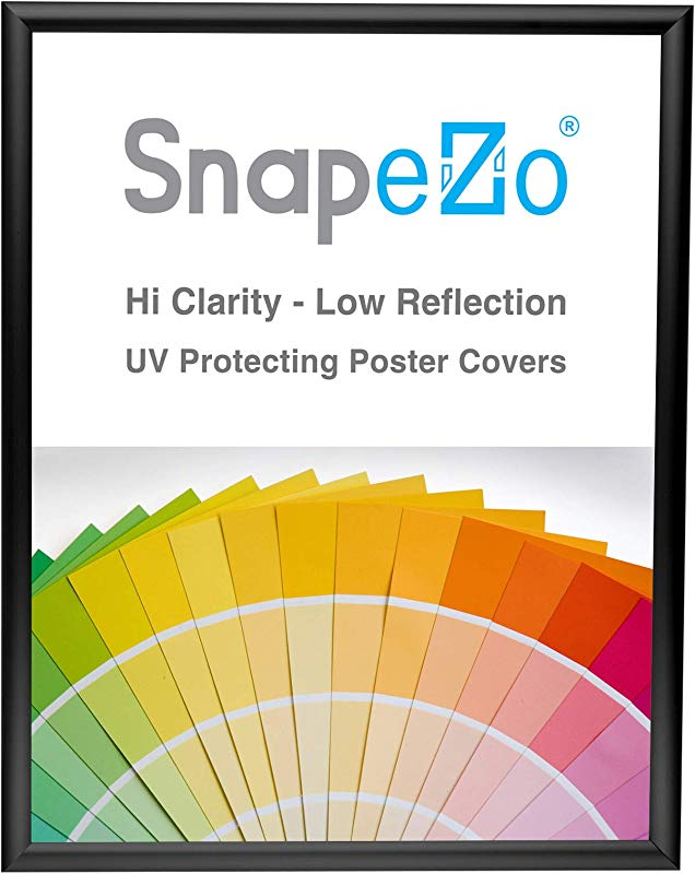 SnapeZo Poster Frame 18x24 Inches Black 1 Inch Aluminum Profile Front Loading Snap Frame Wall Mounting Sleek Series
