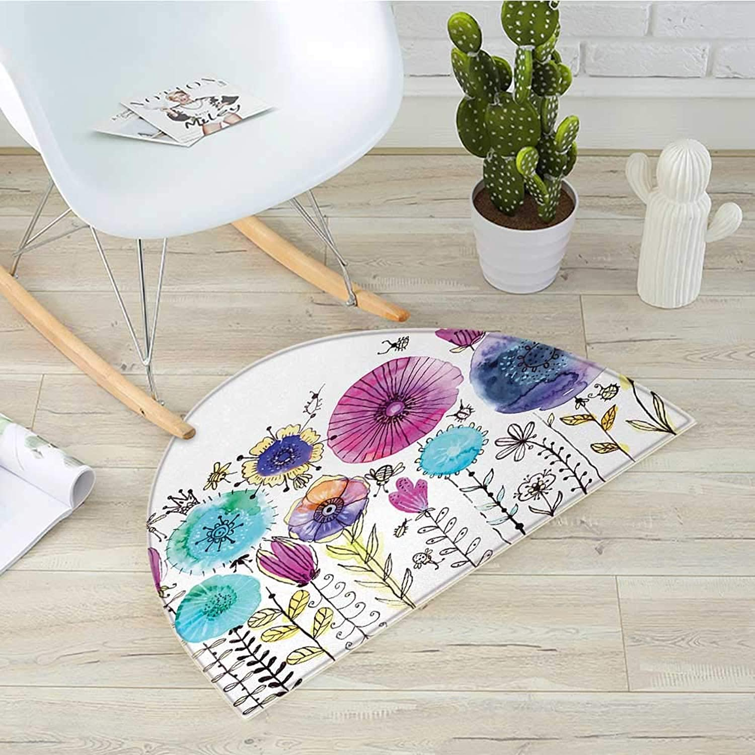 Dragonfly Semicircular CushionHello Summer Concept with Cute Dandelion and Dragonfly Figures Be Happy Artwork Entry Door Mat H 31.5  xD 47.2  Pink bluee