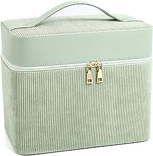 Make-upkoffer, draagbare draagbare make-uptas, mode PU draagbare cosmetische opbergdoos met grote capaciteit voor op reis...