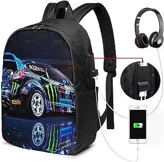 Mochila Portatil 17 Pulgadas Mochila Hombre Mujer con Puerto USB, Rally Car Race Mochila para El Laptop para Ordenador del Trabajo Viaje