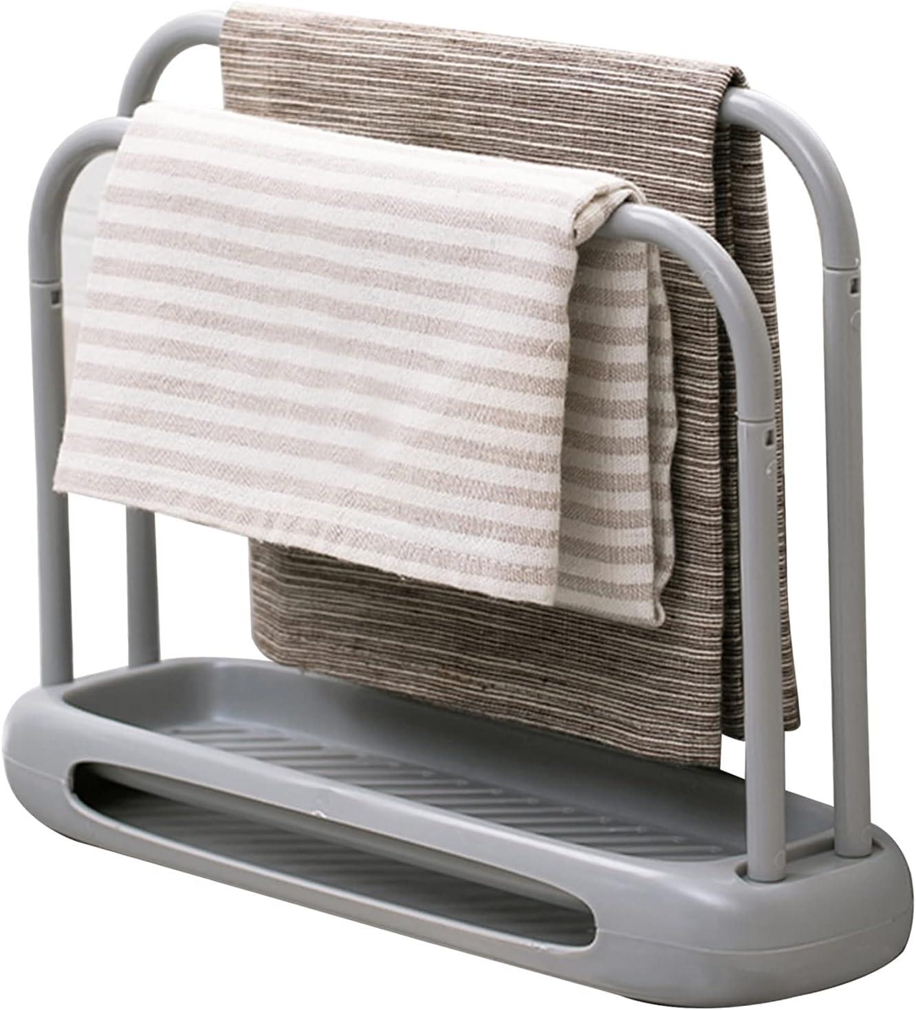 GmeDhc Organizador para Fregadero, Doble capa organizador modular de limpieza de cocina, Duradera organizador sink caddy soporte de Esponja con toallero para utensilios de cocina (gris)