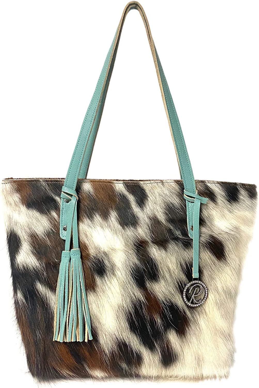 Raviani Tote Bag in brown and white hair on cowhide Leather with Turquoise trim & Tassels Made In USA