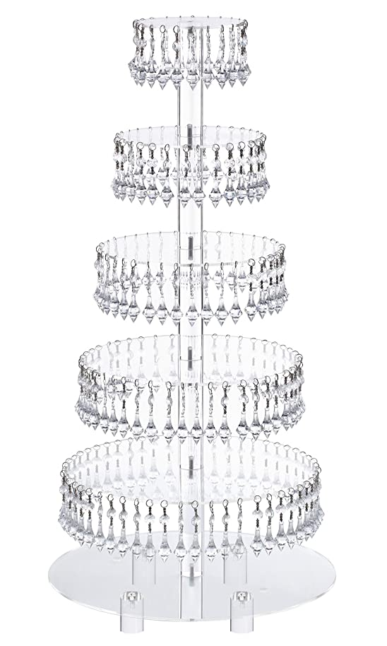 Pre-Installed Crystal Beads- 6 Tier Acrylic Cupcake Tower Stand with Hanging Crystal Bead-wedding Party Cake Tower (6 Tier With Feet) (6RF-Crystal)