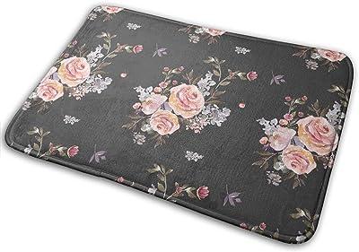 Owl Floral Bouquet Grey Carpet Non-Slip Welcome Front Doormat Entryway Carpet Washable Outdoor Indoor Mat Room Rug 15.7 X 23.6 inch