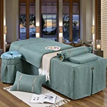 Beauty Salon Bed Skirt Bedspread,Pure Cotton Solid Color Bed Skirt Mattress Cover Beauty Salon Massage Physiotherapy Bed C...