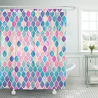Emvency Shower Curtain Colorful Beautiful Mermaid Scales Modern Fashion Polyester Fabric 78 X 72 Inches
