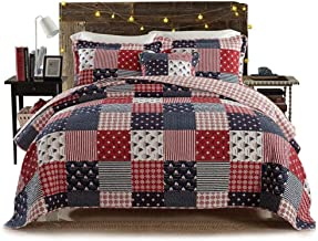 Vintage Bedspread Throws Multifunction Printing Reversible Quilted Patchwork Double Quilt Blankets Coverlets 100% Cotton 3...
