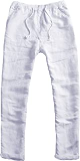 Youhan Men's Fitted Elastic Waistband Cotton Linen Pants with Drawstring