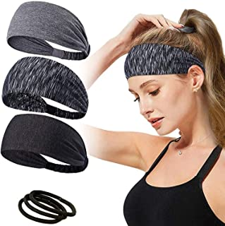 Headbands for Women,T Tersely 3 Pack Women Sport Workout Yoga Headband Non Slip Lightweight Soft Wicking Stretchy Multi St...