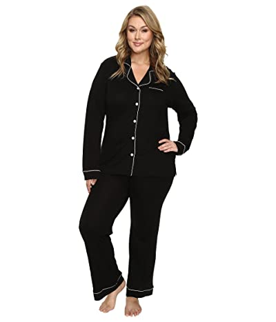Cosabella Plus Size Bella PJ Long Sleeve Top and Pants PJ Set (Black/Ivory) Women