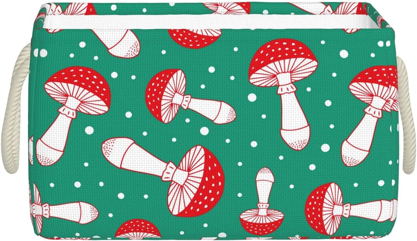 New item Mushrooms Finally popular brand On Green Background Foldable Basket Storage Collapsib