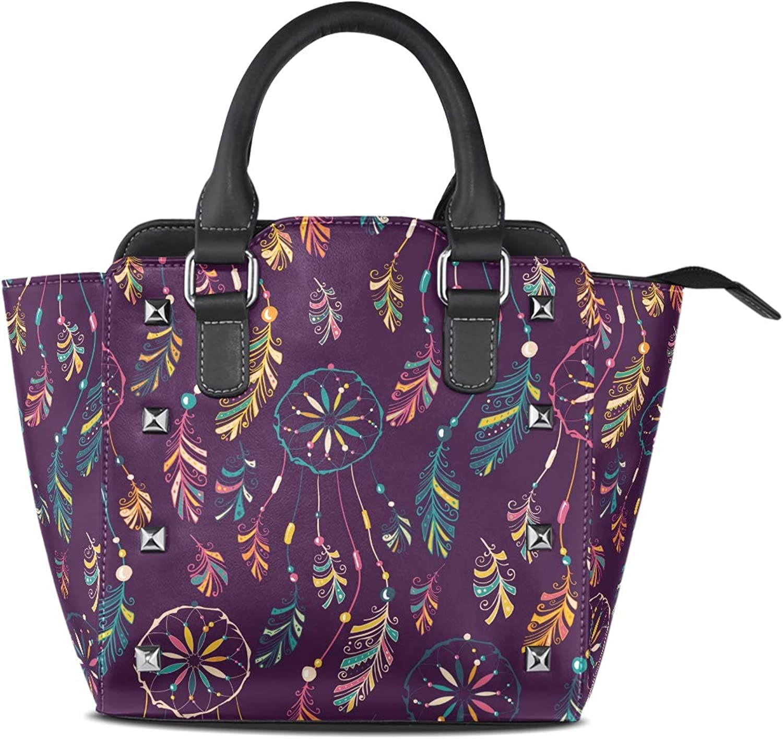 My Little Nest Women's Top Handle Satchel Handbag Indian Style Dream Catcher Ladies PU Leather Shoulder Bag Crossbody Bag