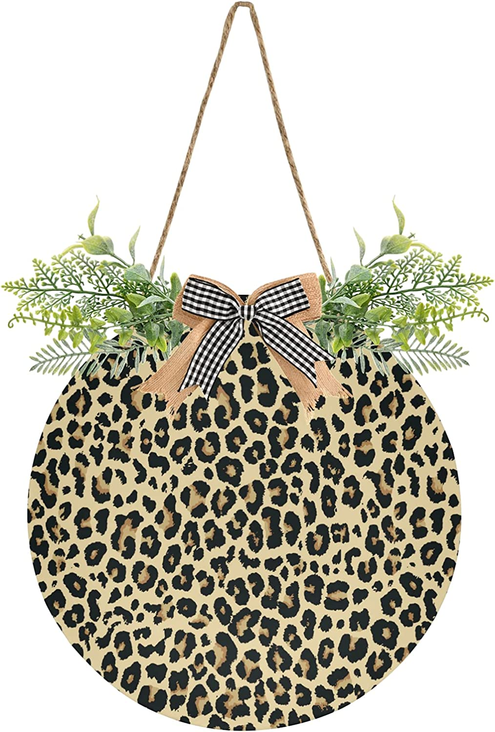 free shipping Leopard Brown Door Sign Hanging Front Signs Wrea Round OFFicial site
