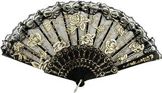 ドン・キホーテやスペインの踊り、キトリに♪【バラ柄】 憧れのバレリーナ バレエ用 レース扇子 練習用 バレエ用品 (黒)