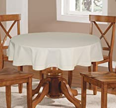 Lushomes Plain Bachelor Button Round Table Cloth - 4 Seater. (Ecru)