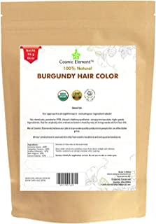 Cosmic Element USDA Organic Hair Coloring Powder with Assorted Shades (4oz, Burgundy)